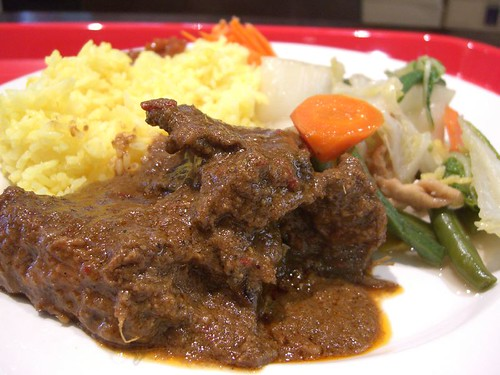 Grass Fed Beef - beef rendang with yellow rice
