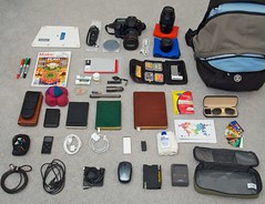 My bag, my stuff (Mike Lutz) Tags: camera make sunglasses bag mouse ipod moo crumpler backpack flashlight whatsinyourbag pens juggling journals lenses moleskin customarybarge