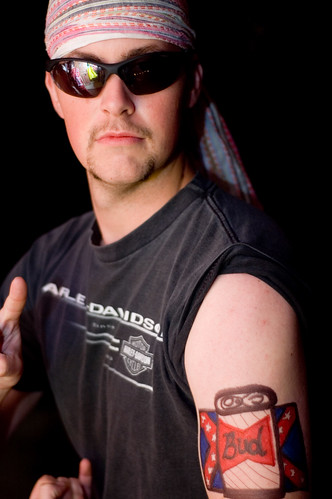 Redneck with Confederate Flag tattoo isn't afraid