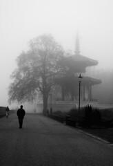 Peace Pagoda (naughton321) Tags: winter blackandwhite bw london fog peace atmospheric peacepagoda batterseapark