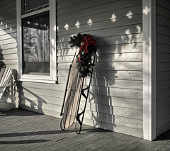 Porch Sled (FotoEdge) Tags: winter usa snow cold wet kids century fun town dangerous shadows fast hills missouri porch sled kearney 19th steep flexibleflyer abigfave impressedbeauty porchdeck