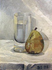 Still life: Glass and pear (dgray_xplane) Tags: stilllife painting artwork artist kunst paintings stilleben oilpaintings oilpainting naturemorte oiloncanvas naturamorta