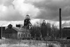 Thorne Colliery South Yorkshire Easter 1975 (loose_grip_99) Tags: uk chimney england industry landscape geotagged blackwhite industrial noiretblanc yorkshire mini pit 1975 coal colliery southyorkshire headgear thorne ncb moorends classicblackwhite 7888vt geo:lat=53636305 geo:lon=0935898