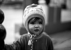 ~ Waiting for Santa (Mackeson) Tags: leica portrait blackandwhite bw film kids children kodakbw400cn mackeson waitingforsanta missgabi
