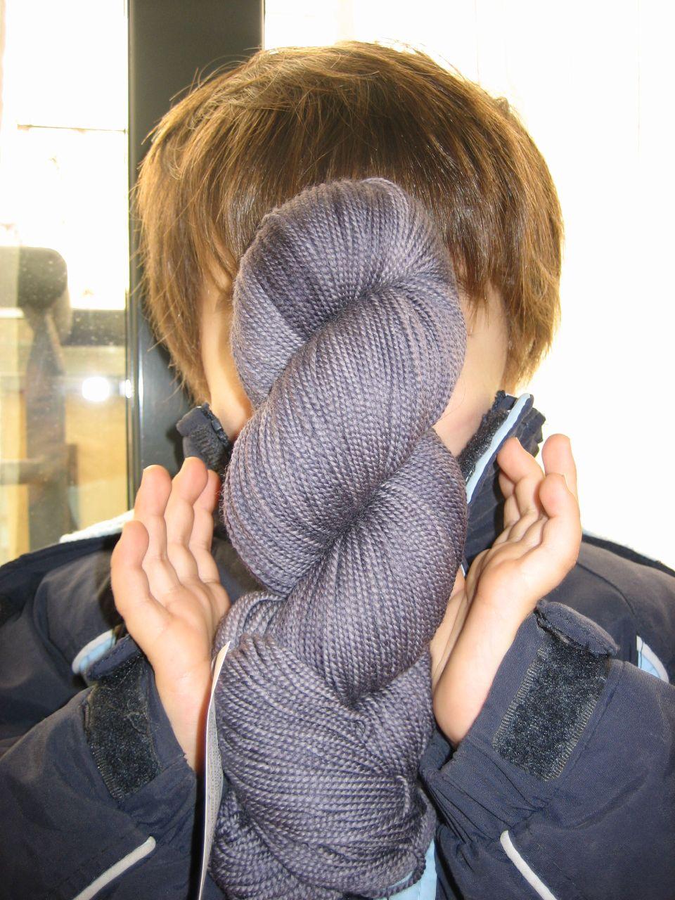 Jan showing lenten rose yarn