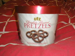 15oz. chocolate covered pretzels, yum