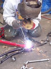 Kurt welding a Roadmaster into new life