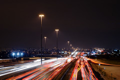 Highway 401 at Islington (josericardodavid_o) Tags: longexposure nightphotography toronto ontario nikon cityscape d70s nikond70s etobicoke rushhour nikkor islington 401 urbanscape nightexposure highway401 50mmf18af nikkor50mmf18af ontariokingshighway