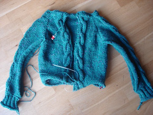 Bulky Cabled Cardigan, sleeves completed