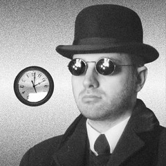 |||| striaticon (striatic) Tags: portrait blackandwhite bw selfportrait clock me hat sunglasses glasses photo vermont unitedstatesofamerica grain tie icon striatic bowlerhat bowler clarify vt 2007 castleton flickr:user=striatic
