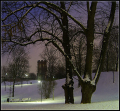 Sinebrychoff park, evening ([ Petri ]) Tags: park winter snow tree tower night finland helsinki sinebrychoff helluva koffinpuisto