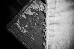 Old Table with Cloth (grahamcase) Tags: blackandwhite table cloth eastport