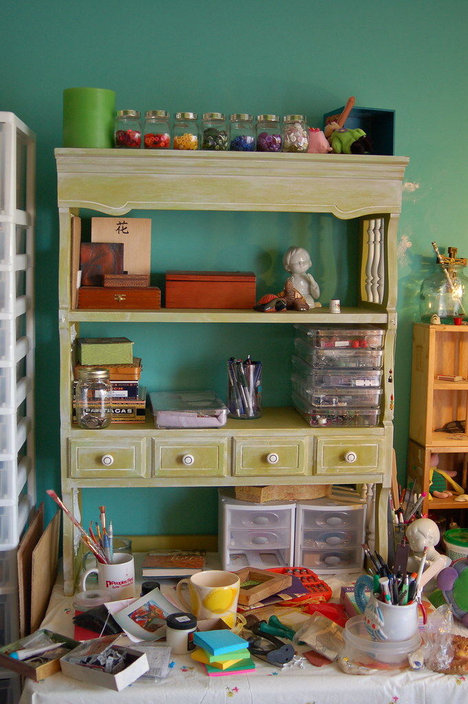 $5.25 hutch that I painted and distressed