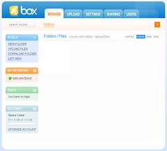 Box.net 初期画面