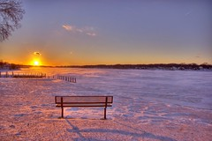 Better than TV #7 (norjam8) Tags: park winter sunset lake snow holland ice bench nc bravo michigan lone fp e1 hdr macatawa kollen 5xp betterthantv colorphotoaward superaplus aplusphoto imgp3439hpf norjam8 norjamss