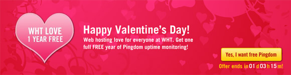 Pingdom showing WHT love with one free year of uptime monitoring
