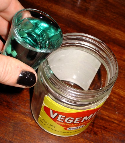 Step 1: Place a shot of absinthe in the jar