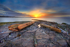 Juan de Fuca Dawn (DARREN ST0NE) Tags: canada color 20d rock canon de eos dawn interesting bravo bc gonzales juan britishcolumbia tide victoria explore driftwood pools multiple photoshopcs hdr orton exposures fuca photomatix explored colorphotoaward darrenstone