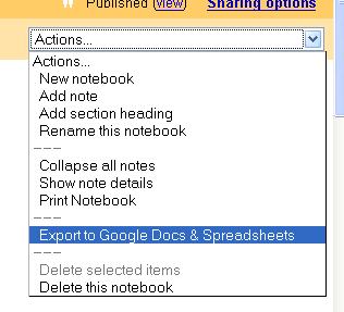 Google Notebook Docs Export