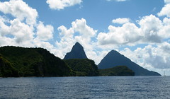 Gros Piton and Petit Piton on St Lucia. These mountains used to be part of the volcano cone before it blew.