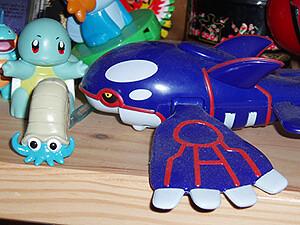 Pokemon figures - Kyogre, Omanyte, Squirtle