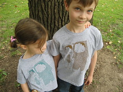 Edie and Henry in You Make Me Happy (ashleyg) Tags: boy brown tree cute girl monster shirt illustration henry etsy edie