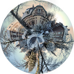 Our street ... planet (patlum20) Tags: trees winter panorama house snow netherlands projection planet polar apeldoorn littleplanet