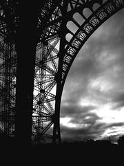 Tower (Finnith) Tags: sky blackandwhite bw cloud paris france tower metal eiffeltower eiffel structure
