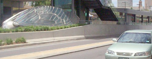 Cicada Sculpture near Cultural Centre bus station, South Brisbane, Queensland, Australia - from footpath of Melbourne St