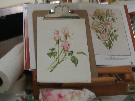 pink roses and easel