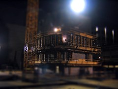 Building site; San Francisco (Littlepixel) Tags: sf building night photoshop miniature construction scaffolding fake mini cranes fts tiltshift toytown lensblur railwaylayout