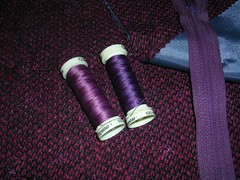 purple wool with threads