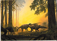 Dinosaurs first appeared during the late Triassic period Herds of prosauropod dinosaurs such as Plateosaurus were common at this time