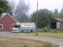 Bookmobile and barn, near Lake Quinault