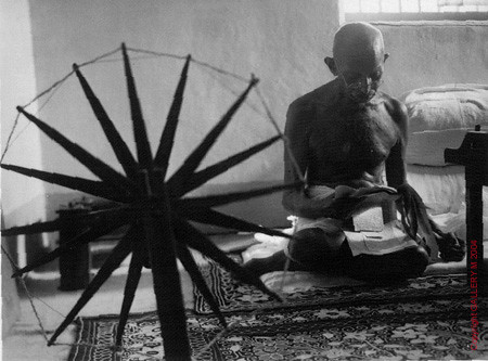 Gandhi Beside Spinning Wheel