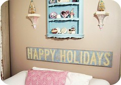 Happy Holidays!! (holiday_jenny) Tags: christmas sign altered vintage aqua folkart country cottage weathered chic happyholidays shabby