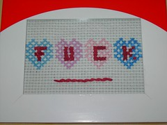 fuck. (sew-mad) Tags: hand cross stitch fuck handmade embroidery present stitching sewmad