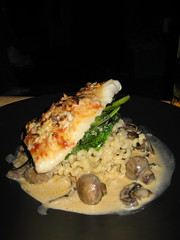 Halibut with Lobster and Mushroom Cream on Broccoli Raab  and Fusilli