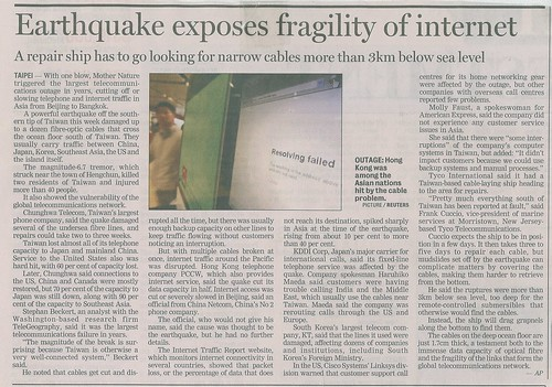 Earthquake takes out internet - http://www.flickr.com/photos/pshaw/351306634/