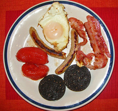 before mk II (bobby stokes) Tags: breakfast bacon tomatoes meat sausages friedegg fryup fullenglishbreakfast blackpudding fullenglish