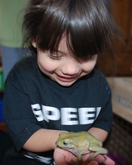 Olivia and tree frog