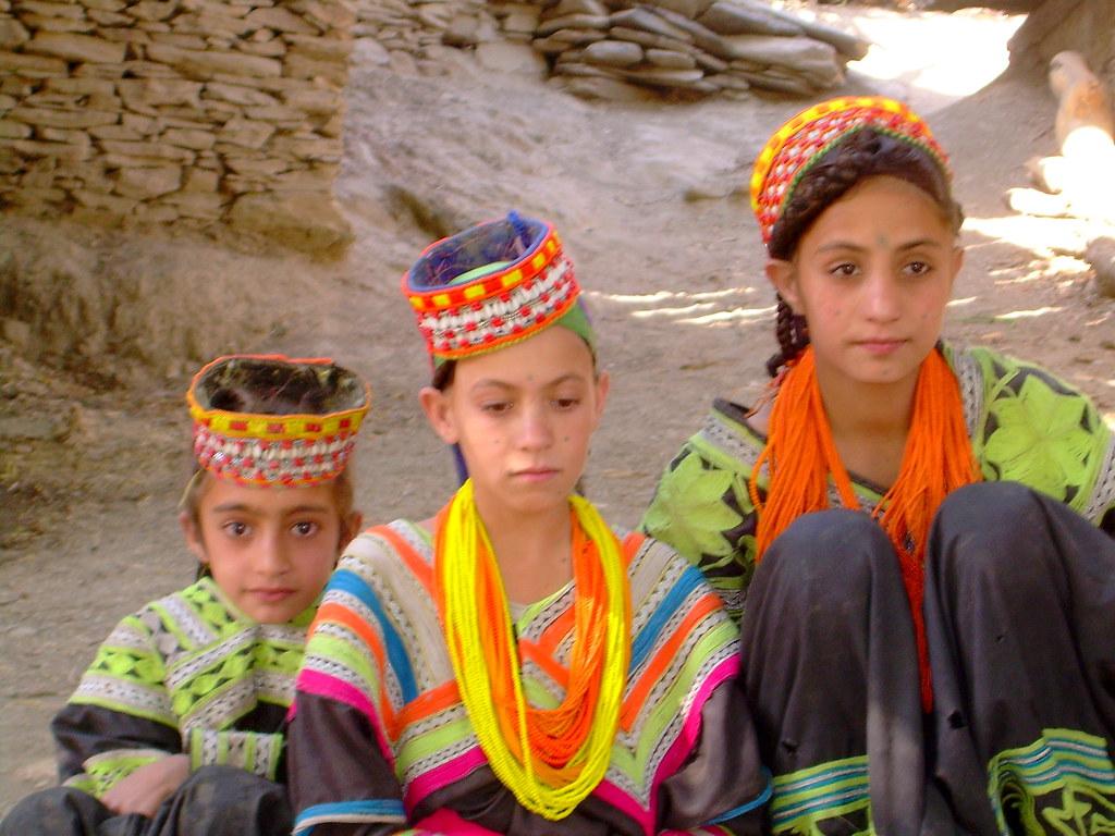 Kalash Girls in Rumbur, Chitral, Pakistan - June 2006