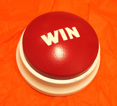 Mashing the WIN button. (foodpr0n.com) Tags: red orange nerd project geek culture craft gaming button easy win staples