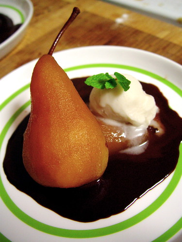 Tea Poached Pears in Chocolate Sauce