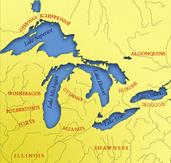 Map approximating ancestral lands of Great Lakes indigenous groups