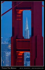 Thread The Needle (jimgoldstein) Tags: sanfrancisco california architecture lights bravo dusk famous landmark goldengatebridge lit top20flickrskylines sfchronicle96hours sfchronicle96hrs abigfave jmggalleries impressedbeauty aplusphoto jimmgoldstein