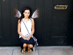 Alas / Hope is the thing with feathers... (Celeste) Tags: argentina girl angel wings stencil quote buenos aires emilydickinson celesteromero