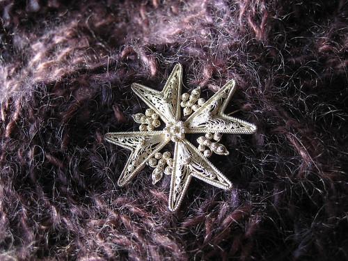 shetland triangle brooch closeup