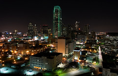 Dallas Skyline (Justin Terveen) Tags: street city longexposure pink sunset urban abandoned skyline architecture night skyscraper buildings grit graffiti dallas downtown texas pano panoramic urbanexploration exploration ninjatune swivel tuf urbanfabric justinterveen wwwtheurbanfabriccom theurbanfabric urbanfabricphotography