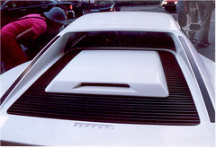 The engine vents of a white Ferrari Testarossa. (Steve Brandon) Tags: auto street city people white canada cars car st geotagged automobile downtown display quebec montreal candid streetphotography ferrari voiture sherbrooke autos spectators classiccars automobiles ville centreville unaware sportscars ferraritestarossa exoticcars testarossa 法拉利 ruestecatherine whitecar ruesaintecatherine italiancars モントリオール カナダ stecatherines saintecatherines ケベック